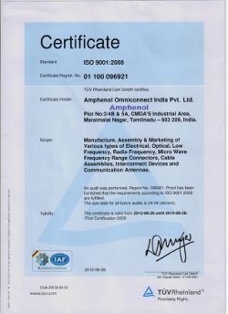 ISO 9001 certificate for AOI